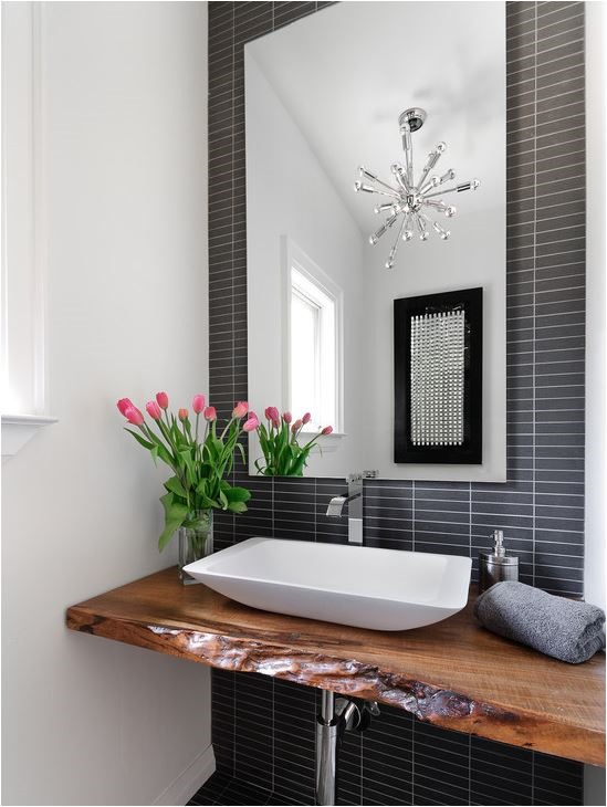Lovely black and white bathroom wood floating vanity