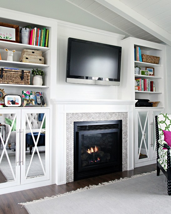 diy fireplace and built ins