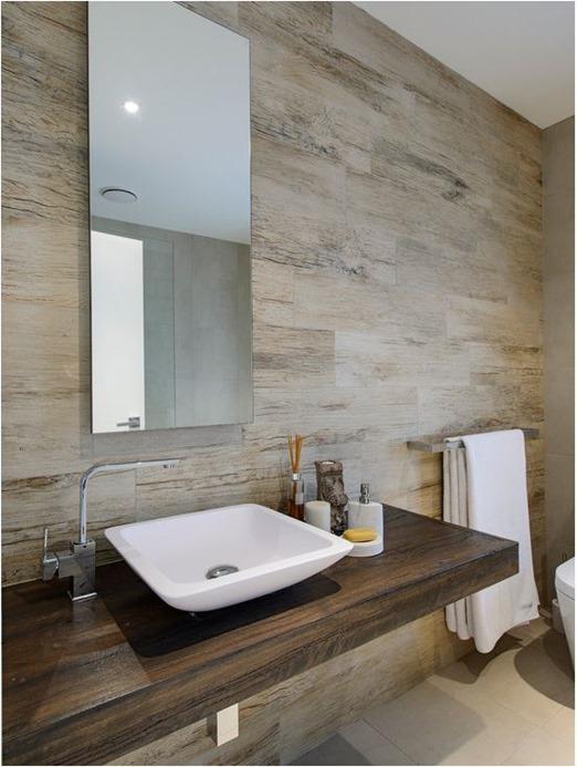 Elegant floating wood vanity wood look tile