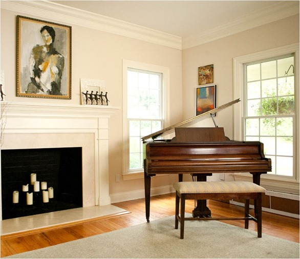 Wood Grand Piano Rachel Belden Interiors Living Room