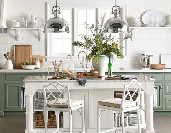 Spectacular green and white kitchen chippendale counter stool