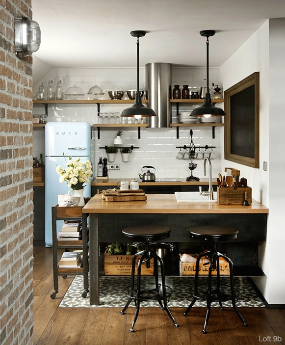 industrial style kitchen black metal stools wood countertops