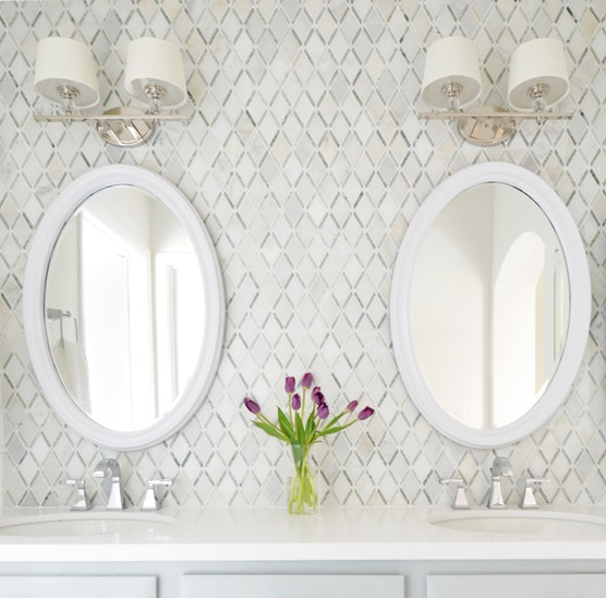 diamond pattern master bathroom backsplash