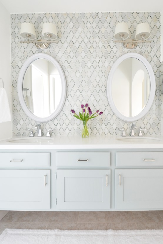master vanity diamond tile backsplash