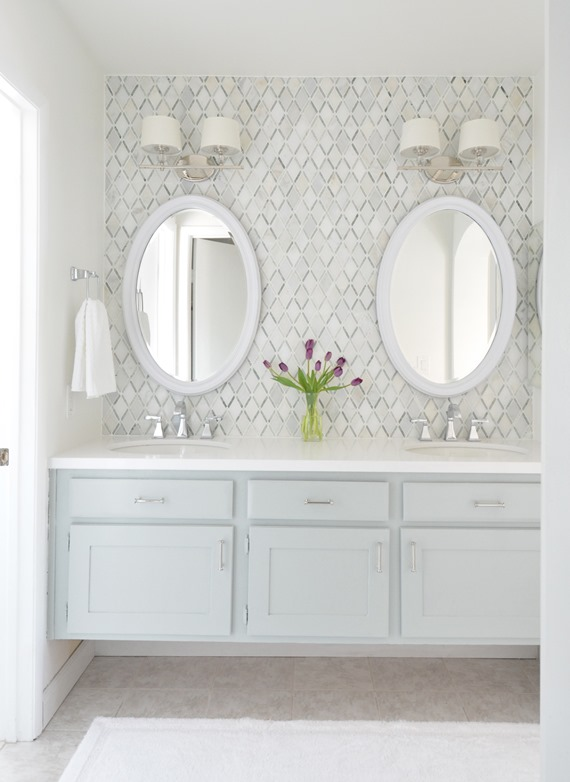 Spectacular master vanity makeover diamond backsplash tile