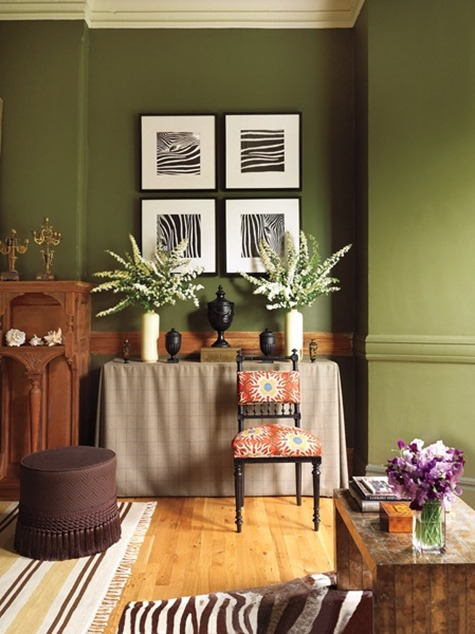 warm green paint colors living room furniture tables olive | centsational style