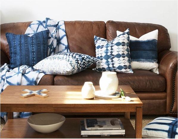 shibori pilows on sofa