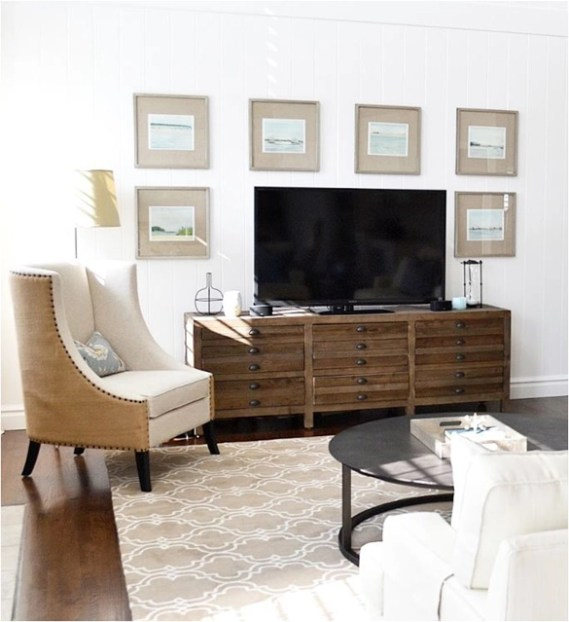 symmetrical art around tv