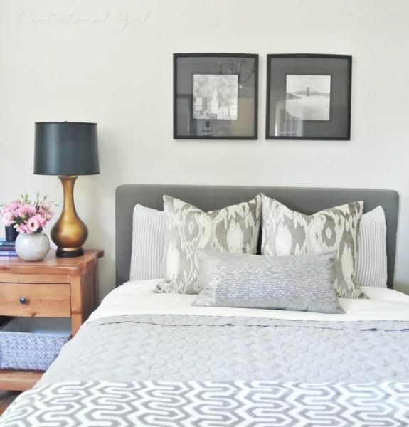 gray linens master bed