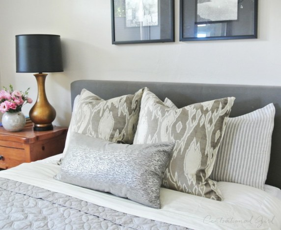 silver and gray bed linens