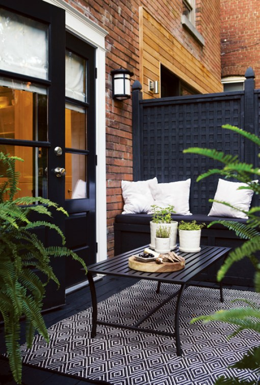 black patio divider