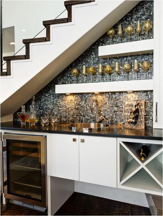 wet bar under staircase