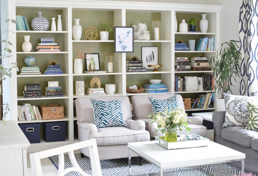 wide bookcase view