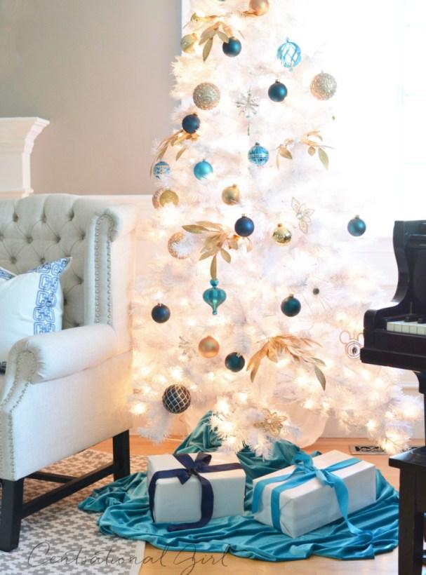 white christmas tree lit