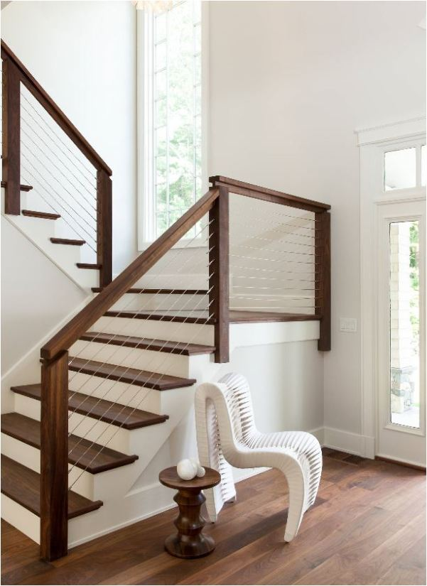 contemporary wire stair railing