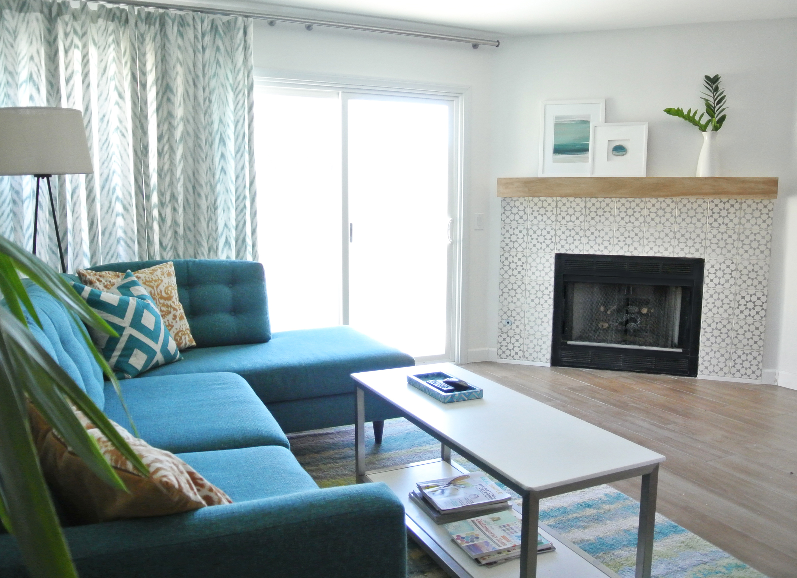 Diy fireplace makeover centsational style for Tela sofa exterior