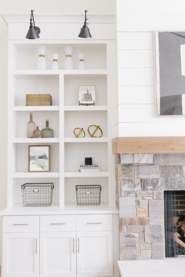 white styled bookcase
