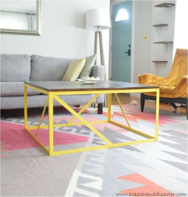 yellow base coffee table