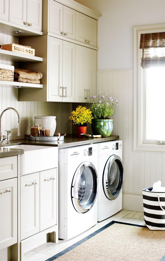 gray cabinets laundry room