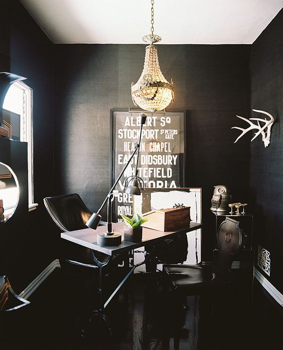 home office dark walls