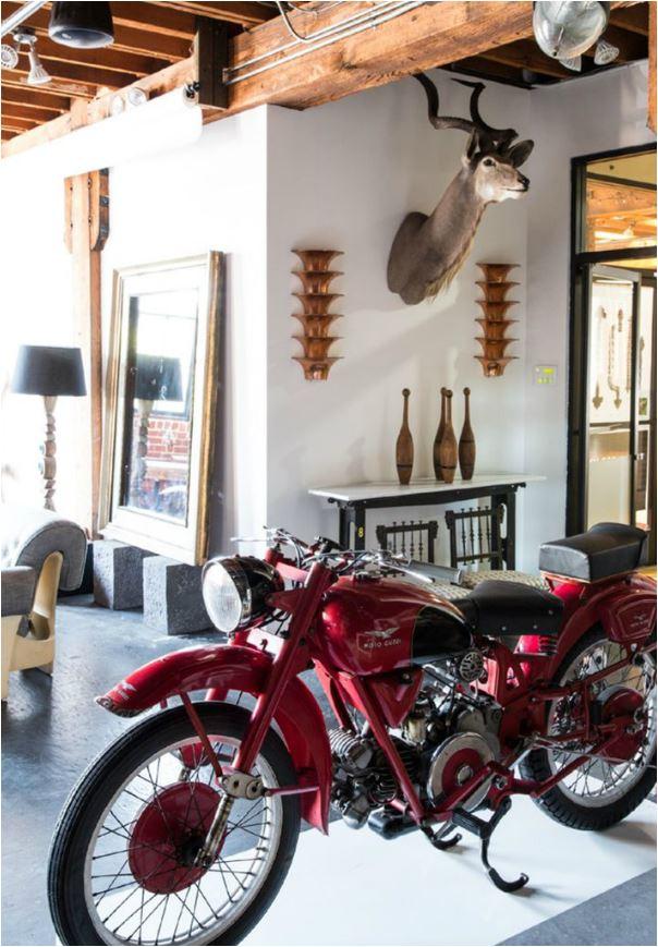 motorcycle in loft