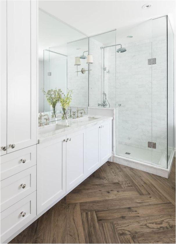 herringbone pattern bathroom floor
