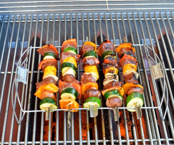 skewers on grill