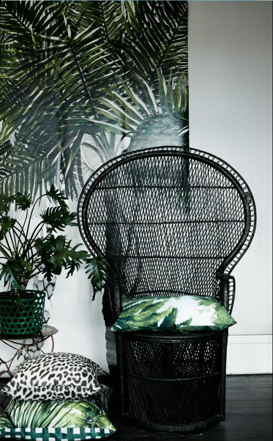 black rattan chair
