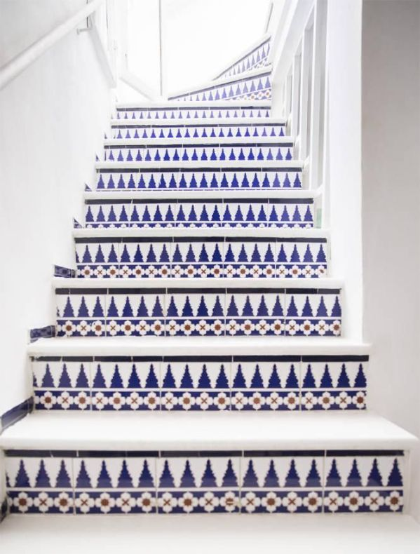 blue tiled staircase