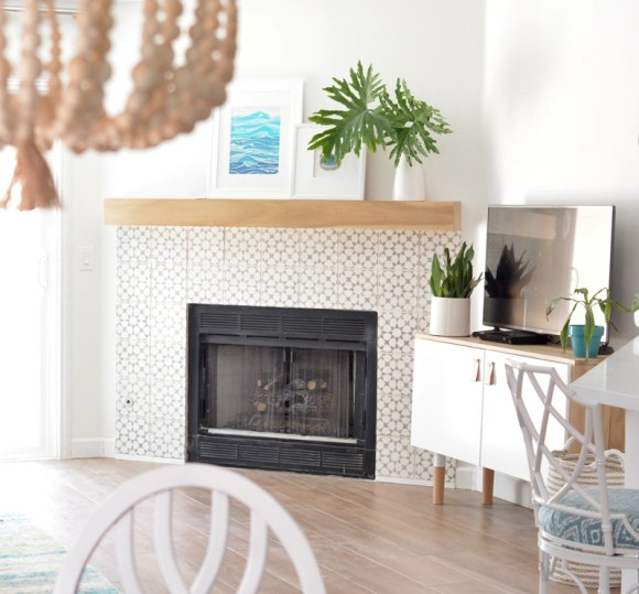 cement tile fireplace