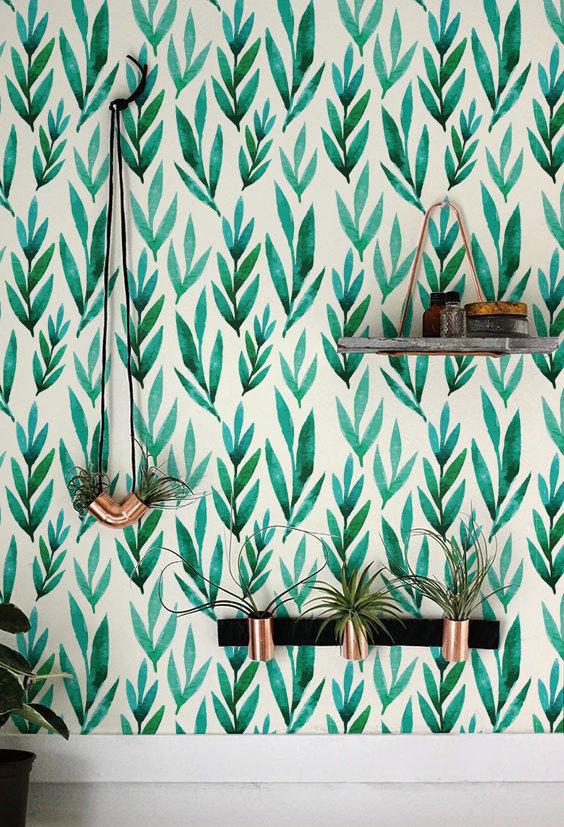 green leaves boho walls