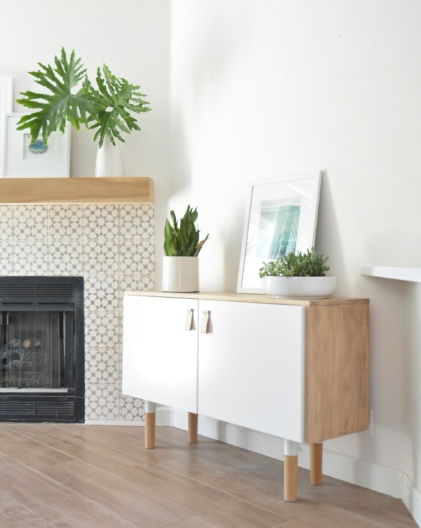 ikea hack wood white console