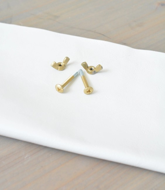 white leather gold screw