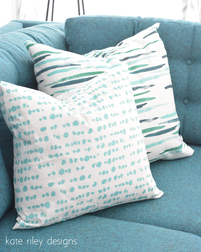aqua ink dot pillow