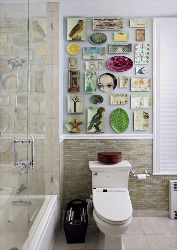 powder room plate wall