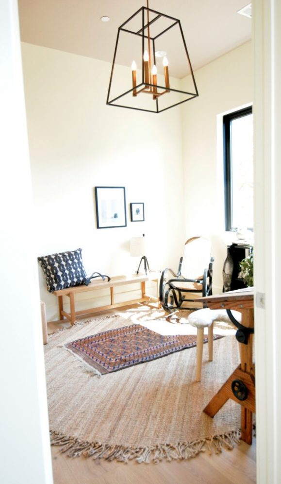 office layered rug