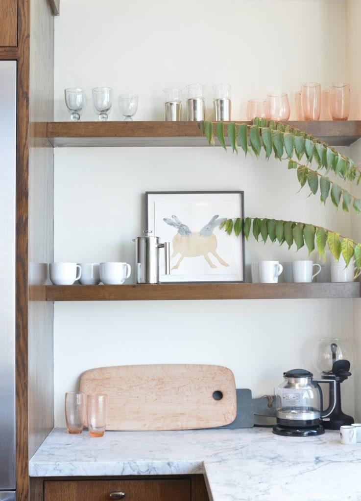wood open shelves kitchen