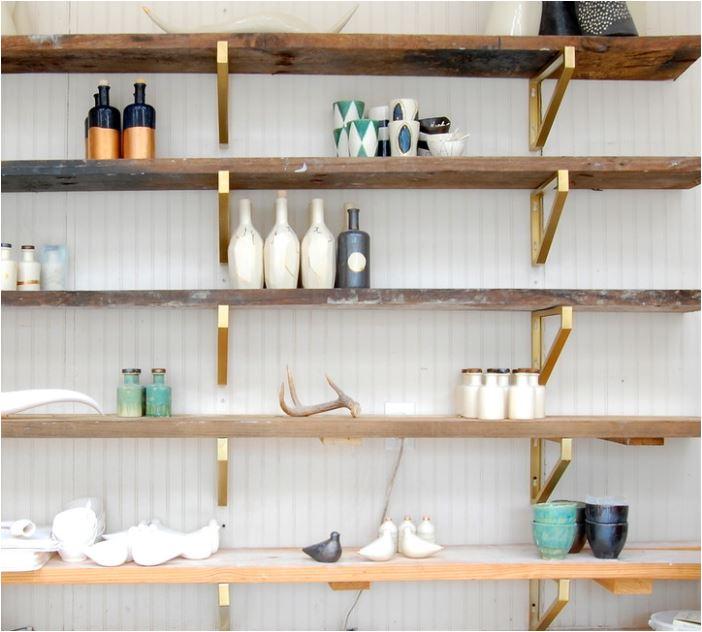 brass shelf brackets wood shelves