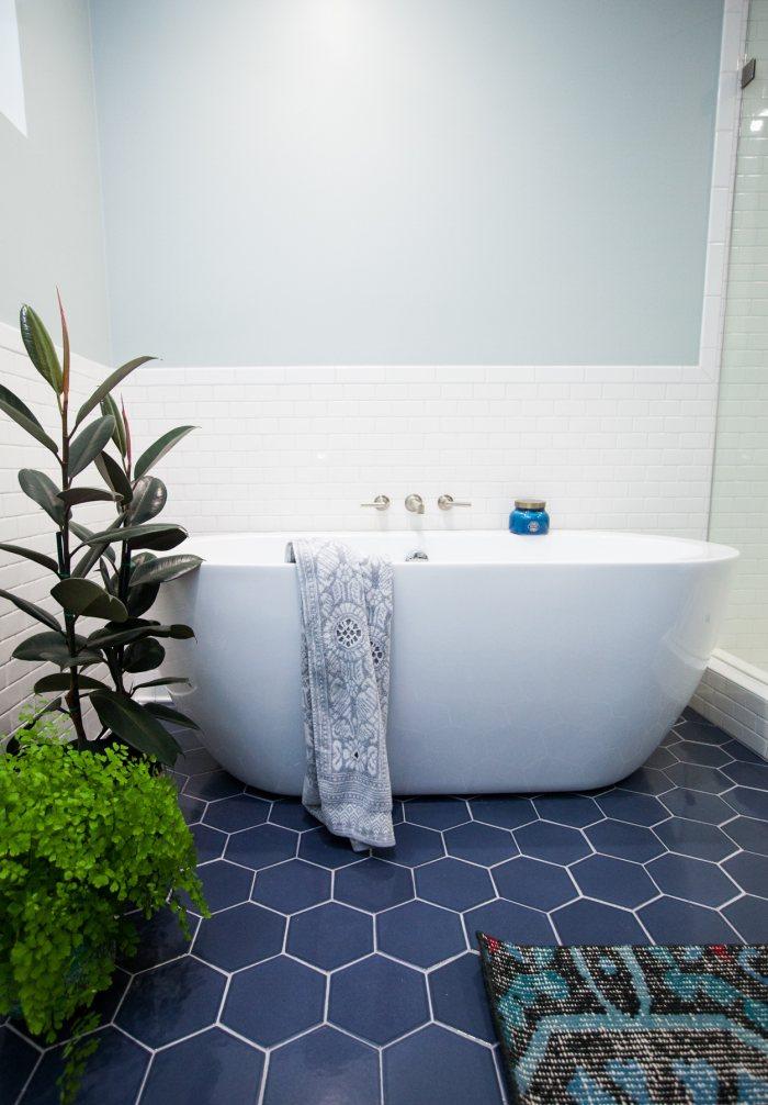 dark blue hexagon tile floor