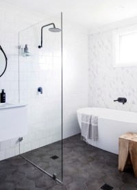Hexagon Bathroom Floor Tile | Centsational Style