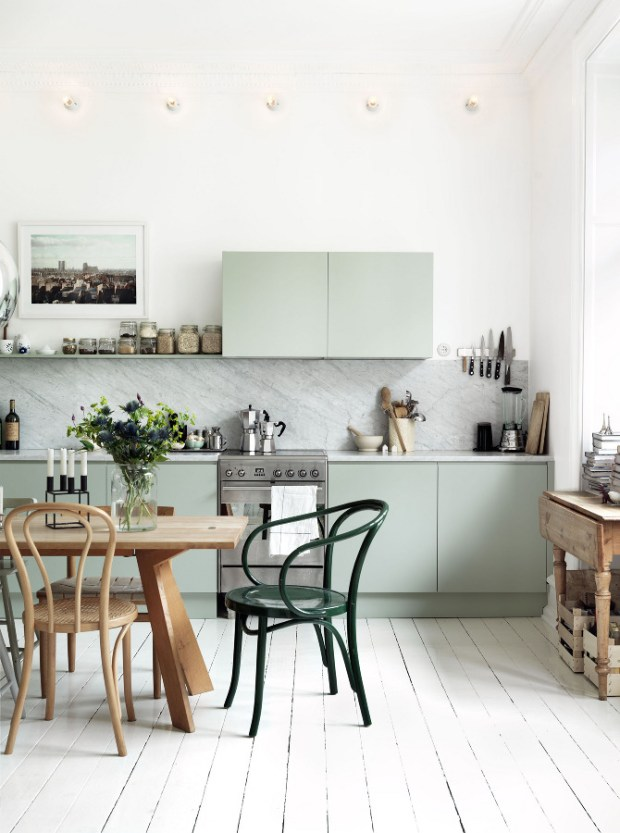 pale green contemporary kitchen cabinets