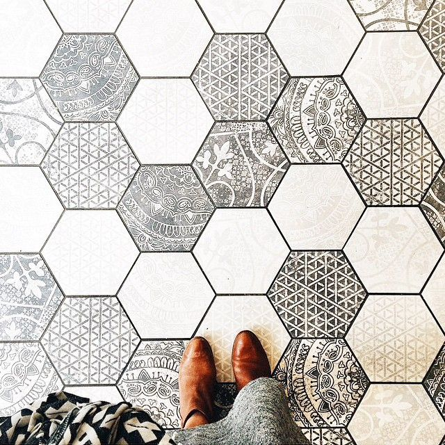 patterned hexagon tiles