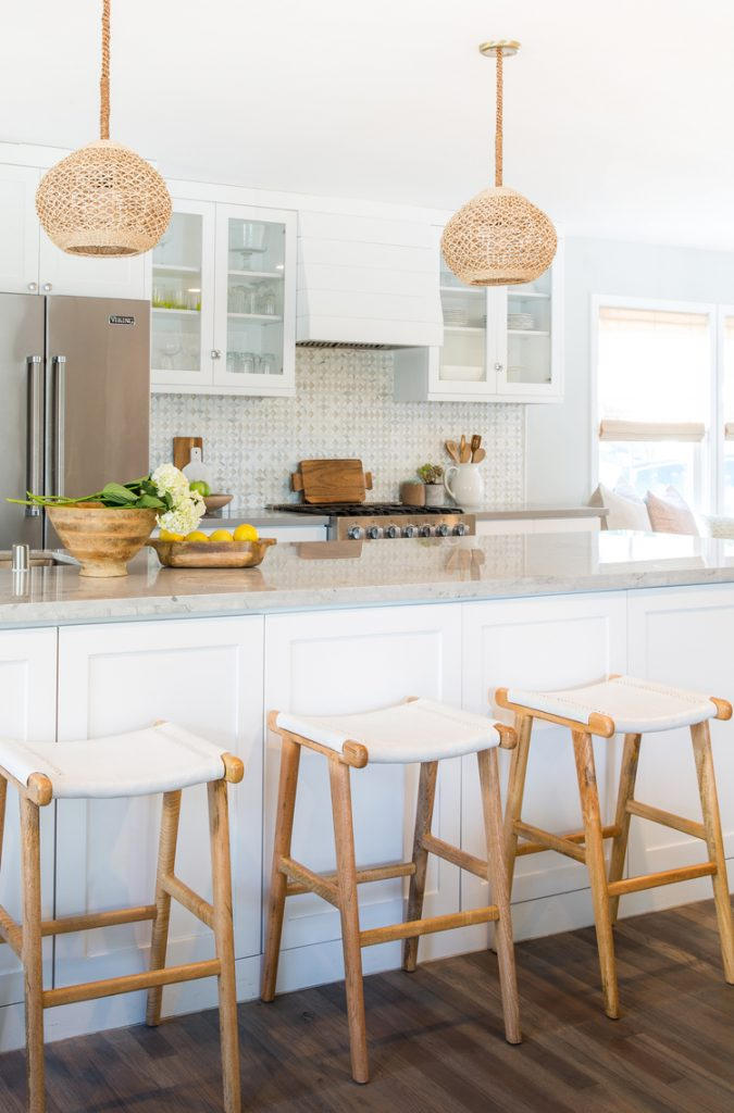 wood stools rattan pendants white kitchen