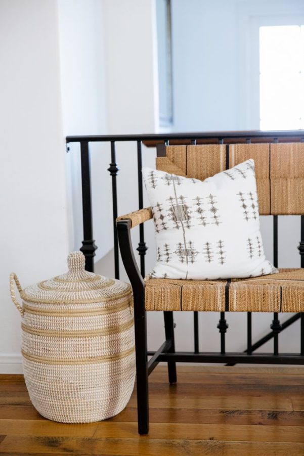 woven bench and basket