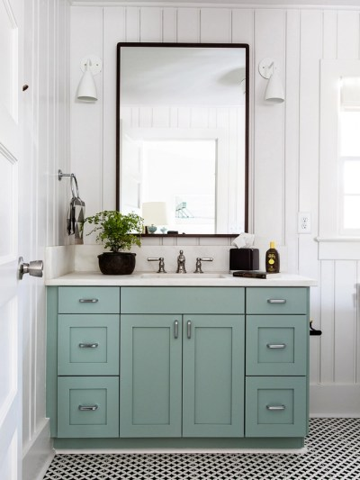 Blue Painted Bath Vanities. Hall Bathroom Makeover - Painted Bathroom Cabinets Centsational Girl
