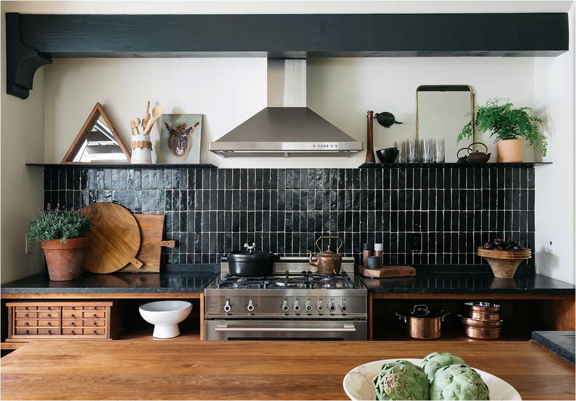 black stack bond kitchen backsplash