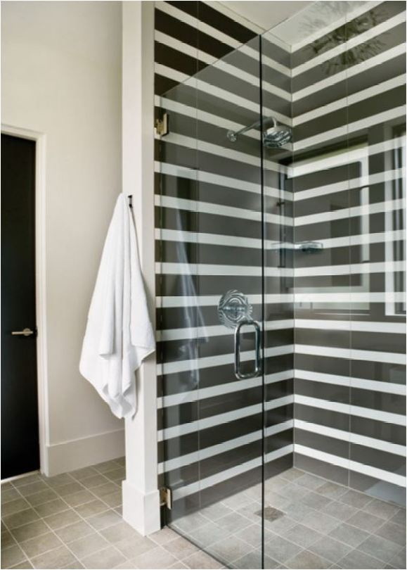 Stripes in the Shower | Centsational Style on asian inspired bathroom design, vintage inspired bathroom design, hippie bathroom design, safari style bathroom design, houzz bathroom design, camo bathroom design, industrial chic bathroom design,