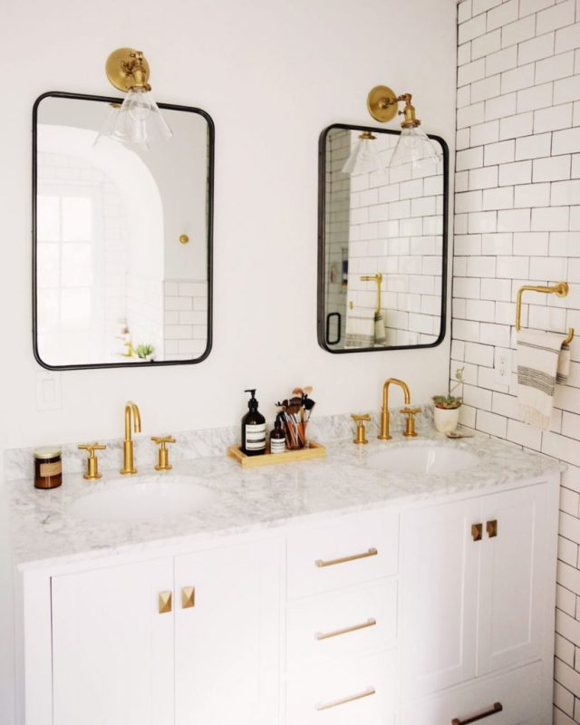 brass bathroom fixtures black mirrors