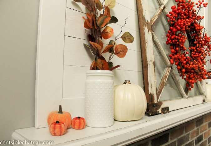 Fall Mantel Decorations at CentsibleChateau.com
