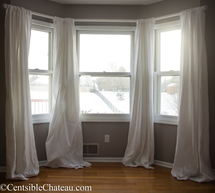 how to make a simple gorgeous bay window curtain rod. Black Bedroom Furniture Sets. Home Design Ideas